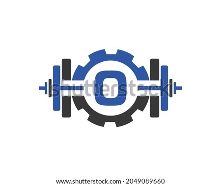 Fitness Gym Logo On Letter O. Fitness Club Icon With Exercising Equipment. Initial Alphabet Letter O GYM Logo Design Template Foto stock ©