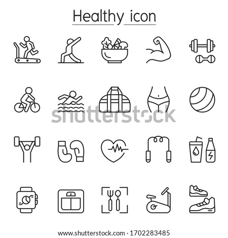Fitness & health icon set in thin line stlye