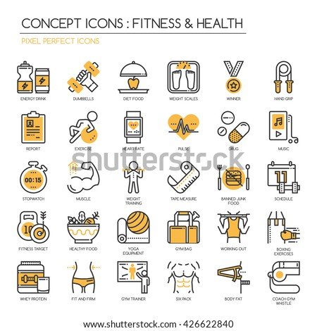 Fitness & Health , Thin Line and Pixel Perfect Icons
