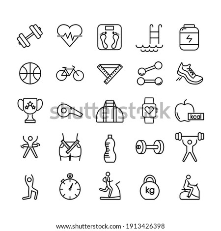 Fitness icon set. Gymnastic equipment pictogram for web. Line stroke. Isolated on white background. Vector eps10 Photo stock ©