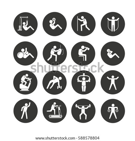 fitness icon set in circle buttons