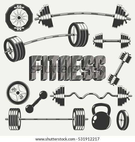 Fitness icon set with barbell and ez-bar curl, dumbbell and composing dumbbell, kettlebell and pancakes, monochrome style on white background, vector