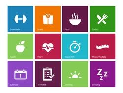 Fitness icons on color background. Vector illustration.