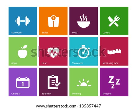 Fitness icons on color background Vector illustration
