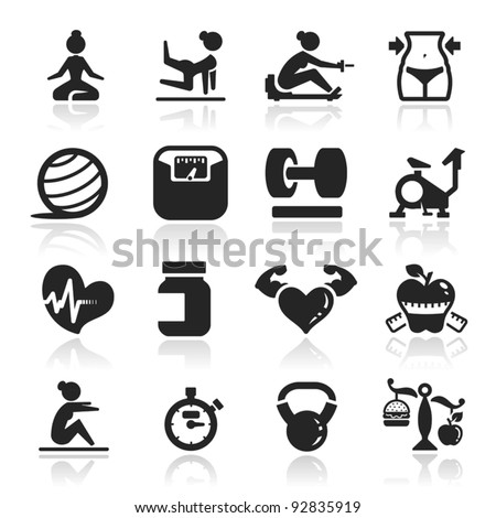 Fitness Icons set elegant series - stock vector