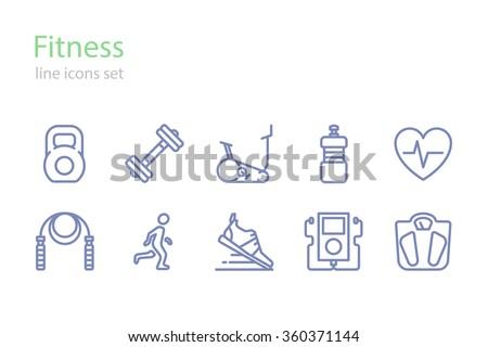 Fitness.  Icons set. Line art.  Stock vector.