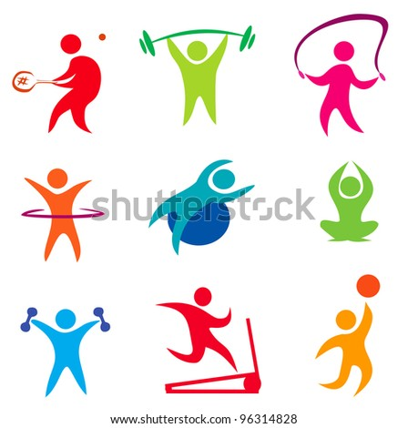 fitness, indoor sport icons of active people