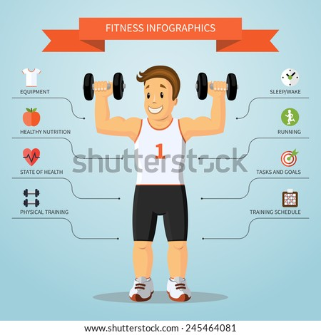 Fitness infographics concept with smiling cartoon training man and set of flat healthy lifestyle and sports icons Vector illustration
