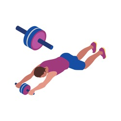 Fitness isometric icon with man training abdominal muscles with wheel isolated vector illustration