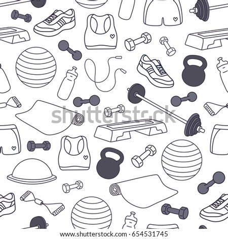 Fitness kit vector seamless pattern. Workout equipment set: barbell, dumbbell, jump rope, mat, fit ball, top, shorts, step, sneakers