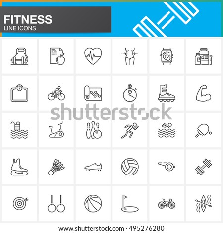 fitness line icons set  outline