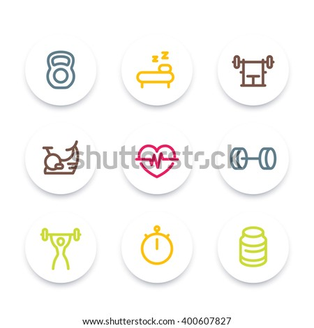 Fitness line icons, thick outline, workout, fitness symbol, training, round fitness icons set, vector illustration