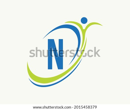 Fitness logo design. Bio, health icon. Medical logo design with N letter concept Foto stock ©