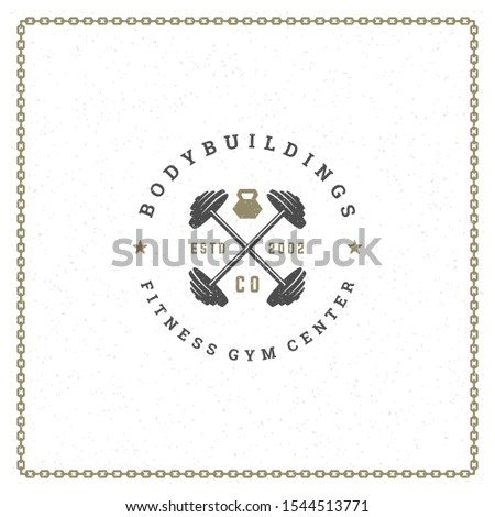 Fitness logo or badge vector illustration two crossed barbells sport equipment symbol silhouette. Retro typography emblem design template or t-shirt print stamp.