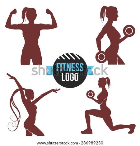 Fitness logo set. Elegant women silhouettes. Fitness club, fitness exercises concept. Vector illustration isolated on white background