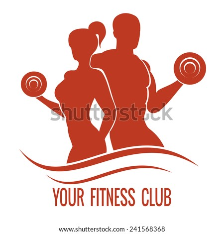 Fitness logo with muscled man and woman silhouettes. Man and woman holds dumbbells. Vector illustration