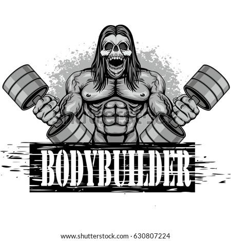 fitness logo with skull  grunge