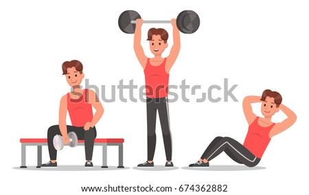 Fitness man doing exercise character vector design. Healthy lifestyle