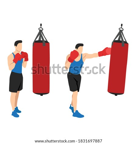 Fitness man practicing boxing with sand bag isolated on white background Stock photo ©