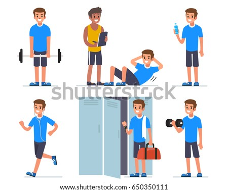 Fitness man training in gym. Flat style vector illustration isolated on white  background.
