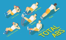 Fitness men in gym, gymnastics workout and yoga exercises. 3d isometric icons. Sport people, total abs,vector illustration