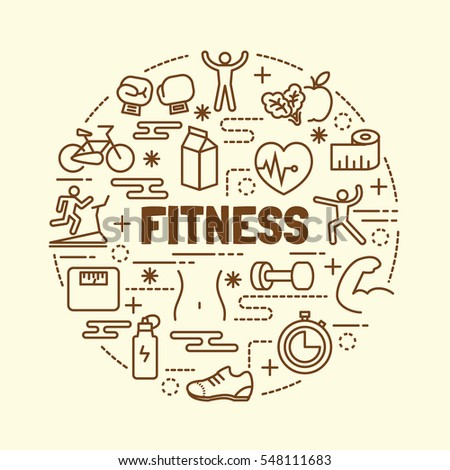 fitness minimal thin line icons set, vector illustration design elements
