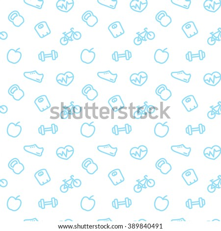 fitness pattern, seamless pattern with blue fitness icons on white, vector illustration