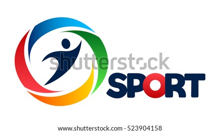 Fitness people colorful web icon, vector logo, sport symbol design, silhouette action sign, speed fitness, running, swimming, jumping logotype