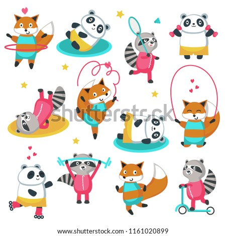Fitness raccoon panda fox icon set. Vector illustration isolated on white background. Cute animals playing badminton, riding push scooter, exercising with jump rope, hula hoop, dumbbells etc.