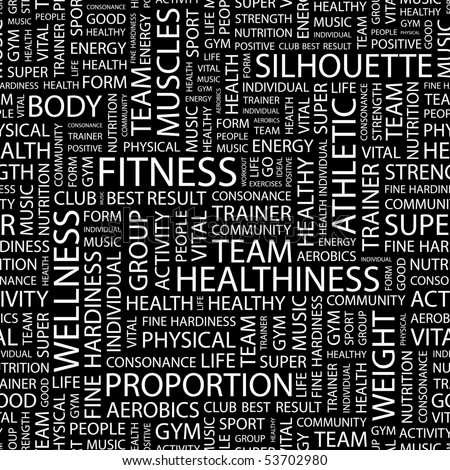 FITNESS. Seamless vector pattern with word cloud.