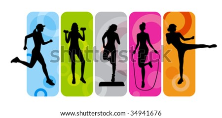 stock vector : Fitness silhouettes on abstract background