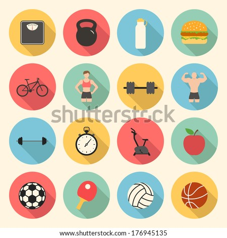 fitness sport and health colorful flat design icons set. template elements for web and mobile applications