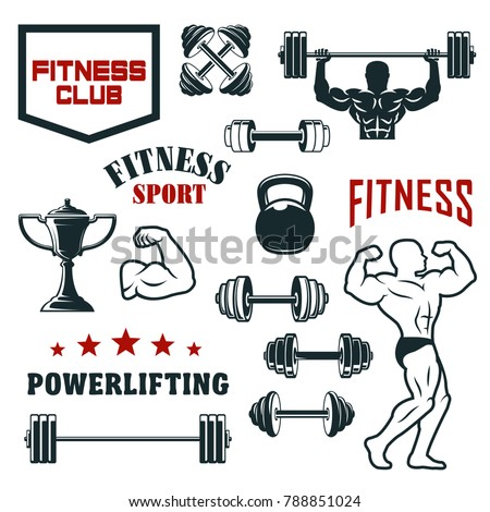 Fitness sport club, gym and bodybuilding vector icon set. Weight exercises symbol with bodybuilder, dumbbell, barbell and kettlebell, winner cup or trophy, star and ribbon for sporting emblem design