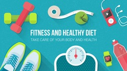 Fitness, sport, diet and healthy lifestyle banner with copy space and training equipment