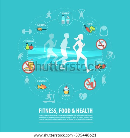 fitness, sport, food and health concept