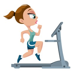 Fitness. Sports girl running on treadmill. Cartoon styled vector illustration. Elements is grouped for easy edit. No transparent objects. Isolated on white.