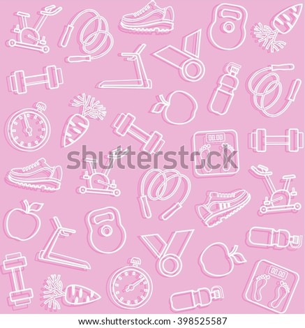 Fitness, sports, pink background. Vector seamless background with white line icons of the sports goods on a pink field.