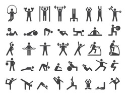 Fitness symbols. Sport exercise stylized people making exercises vector icon