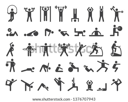Fitness symbols. Sport exercise stylized people making exercises vector icon