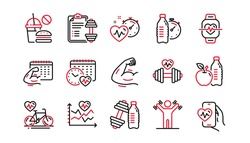 Fitness time line icons. Strong Muscle Arm, Bike Workout, Gym fit dumbbell. Training analysis, Workout plan and Cardio exercise line icons. Dumbbell sport equipment, Healthy food, Muscle. Vector