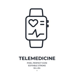 Fitness tracker smart watch and telemedicine concept editable stroke outline icon isolated on white background flat vector illustration. Pixel perfect. 64 x 64.