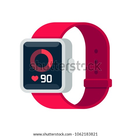 Fitness tracker smart watch illustration with heart rate monitor, flat cartoon vector style design. Modern stylish wearable device.