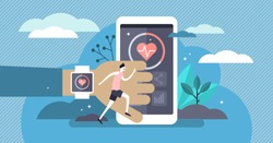 Fitness tracker vector illustration. Flat tiny heartbeat measurement person concept. Physical health control in fitness workout running exercise. Pedometer technology synchronization with smart phone