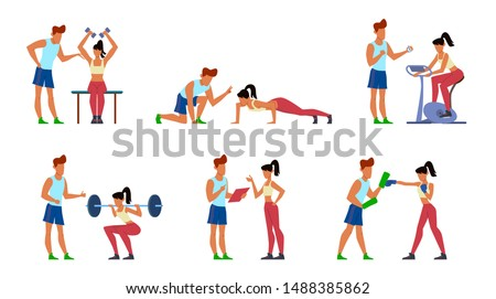 Fitness trainer. Gymnastics exercising in gym with instructor, active sport woman, athletic training men jogging, cartoon vector athlete young man and coaching women set