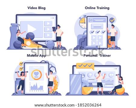 Fitness trainer online service or platform set. Workout in the gym with professional sportsman. Nutrition program. Online training, personal trainer, video blog, mobile app. Flat vector illustration Stock fotó ©