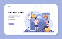 Fitness trainer web banner or landing page. Workout in the gym with professional sportsman. Healthy and active lifestyle. Training and nutrition program. Flat vector illustration