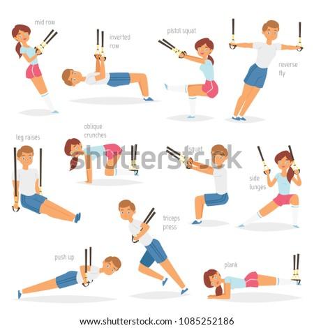 fitness trx exercises vector