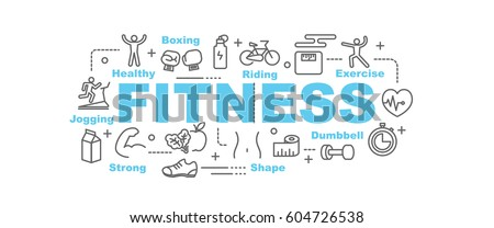 fitness vector banner design concept, flat style with thin line art icons on white background