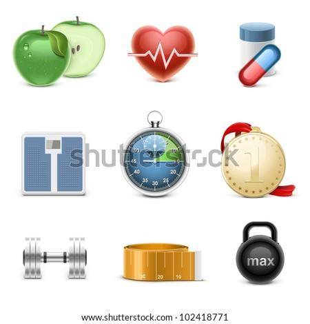 fitness vector icon set