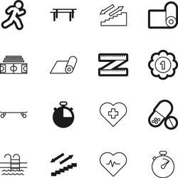 fitness vector icon set such as: bright, chemistry, 3d, strength, skater, ruler, cardiogram, pills, blank, award, pill, woman, switzerland, dose, healthcare, board, beautiful, first, victory, capsule